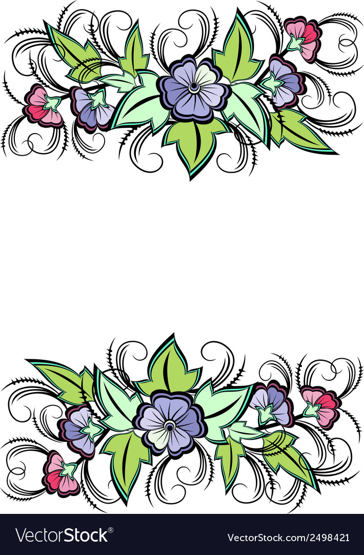Abstract floral border vector | Price: 1 Credit (USD $1)