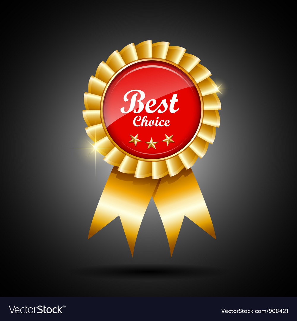 Best choice red and gold ribbon award vector | Price: 3 Credit (USD $3)
