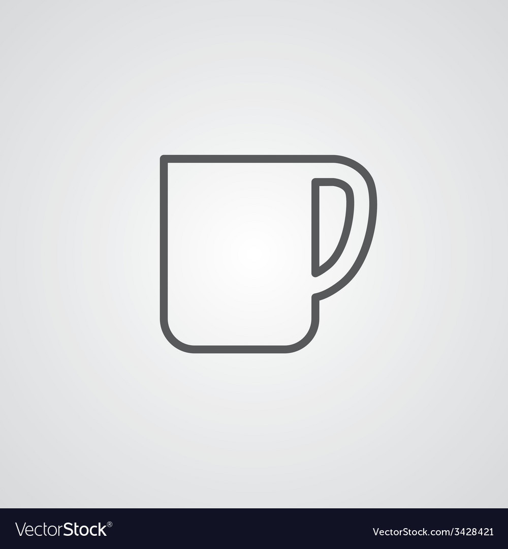 Coffee cup outline symbol dark on white background vector | Price: 1 Credit (USD $1)