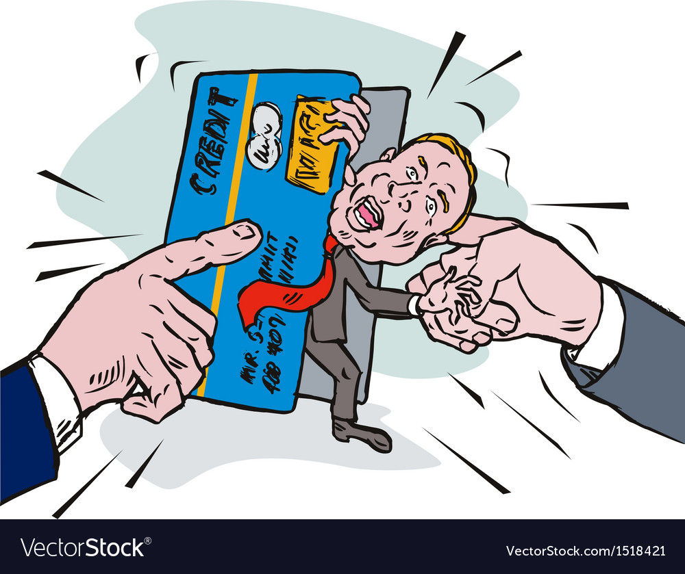 Credit card crunch man vector | Price: 1 Credit (USD $1)