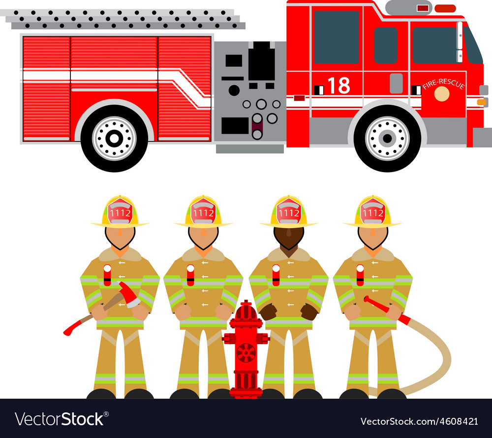 Fire truck and fireman yellow 1 vector | Price: 1 Credit (USD $1)