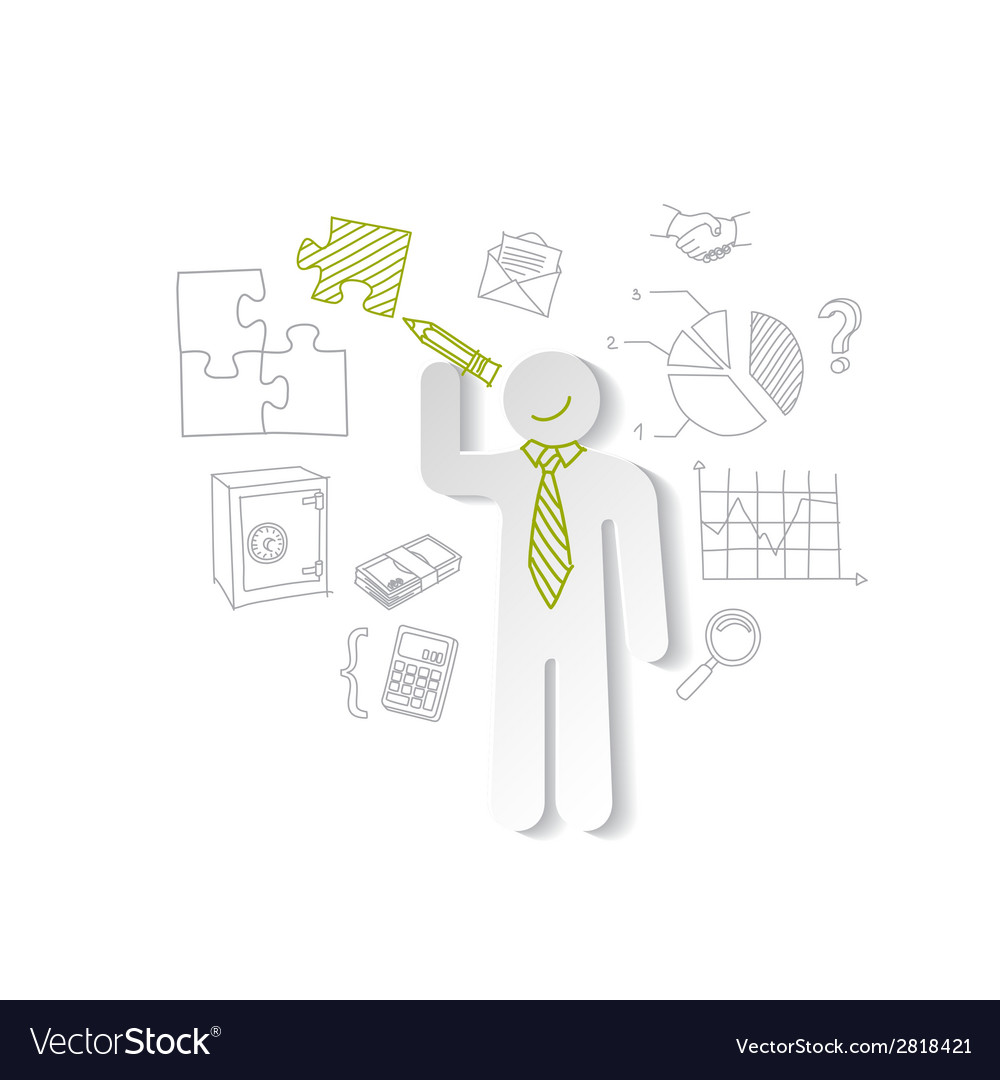 Paper man puzzles and business graphics marketing vector | Price: 1 Credit (USD $1)