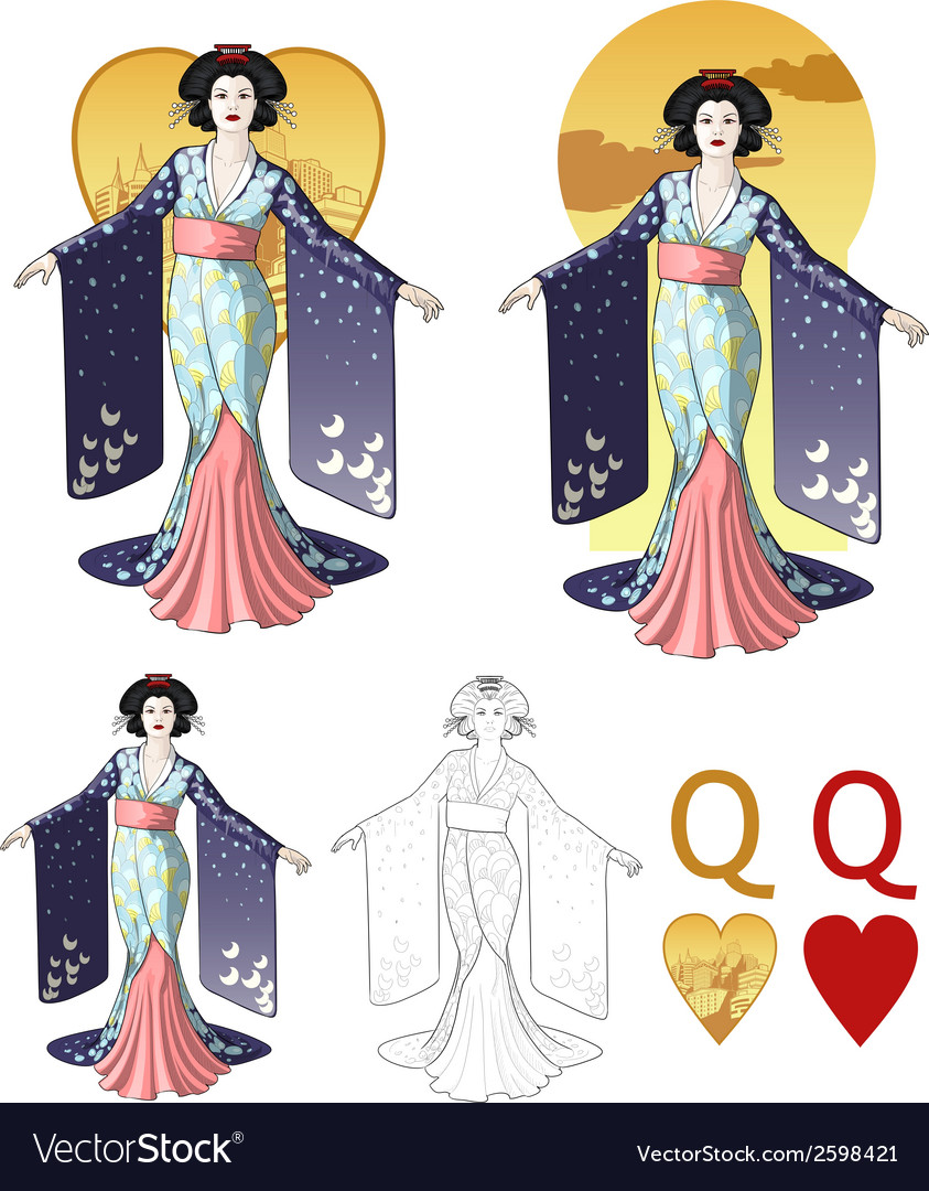 Queen of hearts asian actress mafia card set vector | Price: 3 Credit (USD $3)