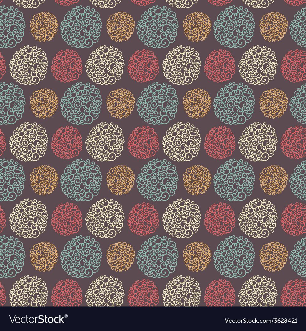 Seamless pattern with round doodle elements vector | Price: 1 Credit (USD $1)