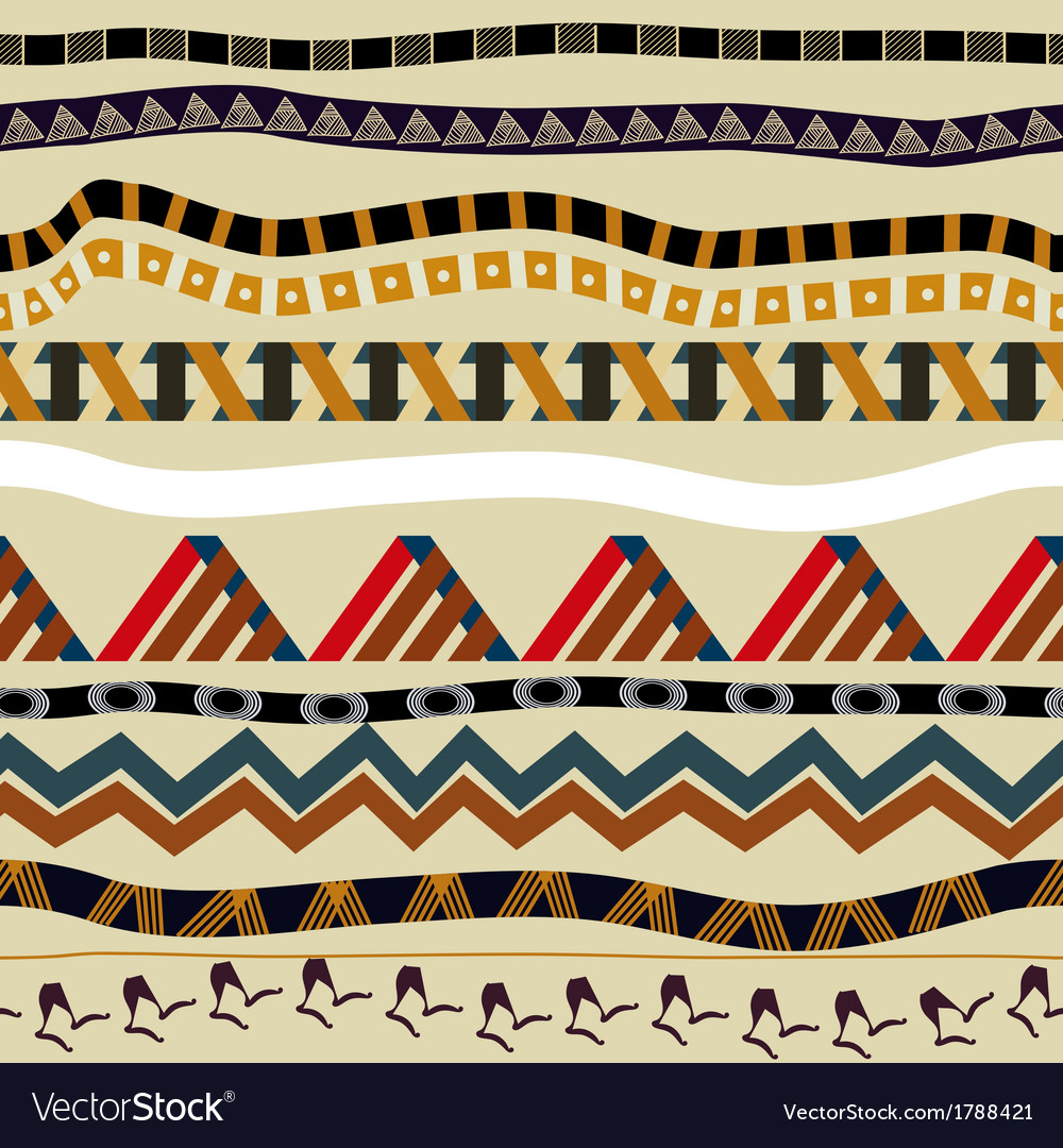Seamless with ethnic patterns in tribal style vector | Price: 1 Credit (USD $1)