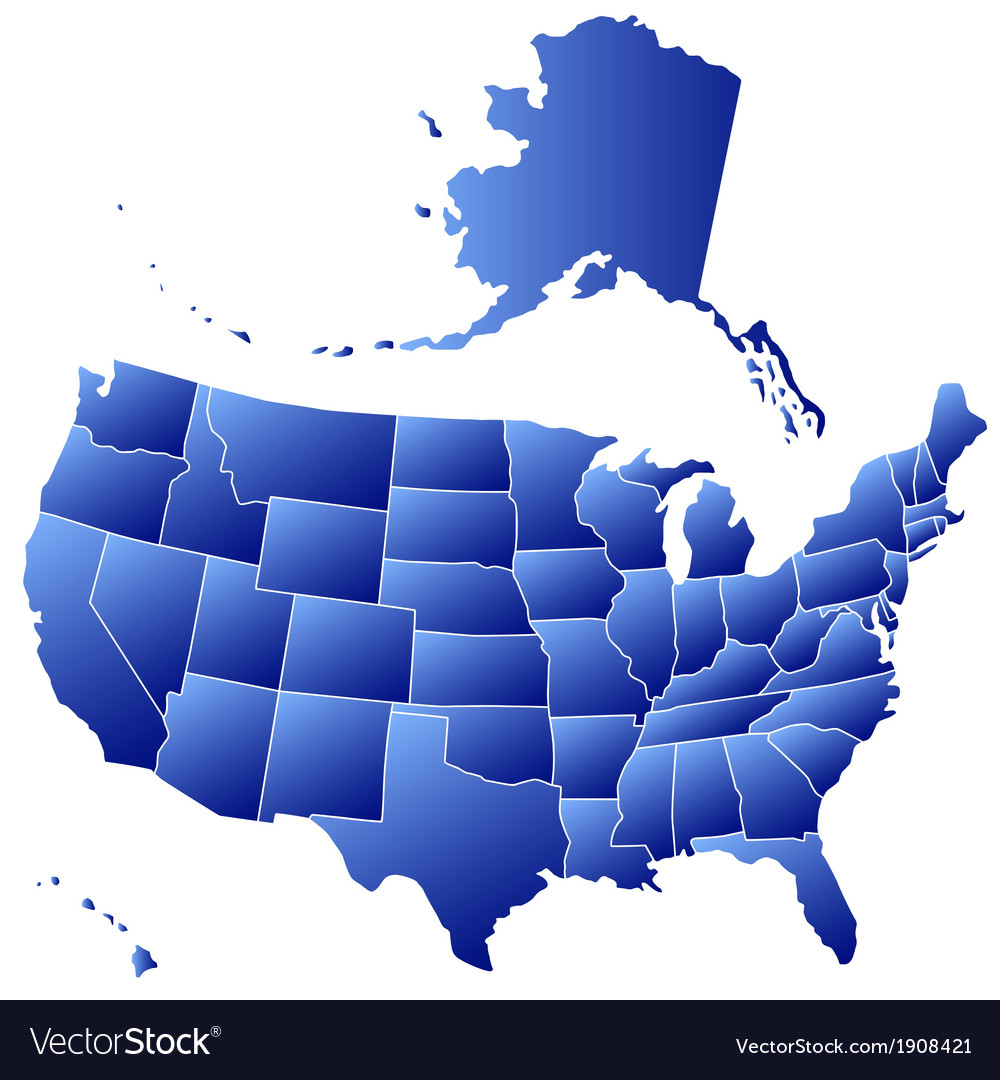 Silhouette map of usa vector | Price: 1 Credit (USD $1)