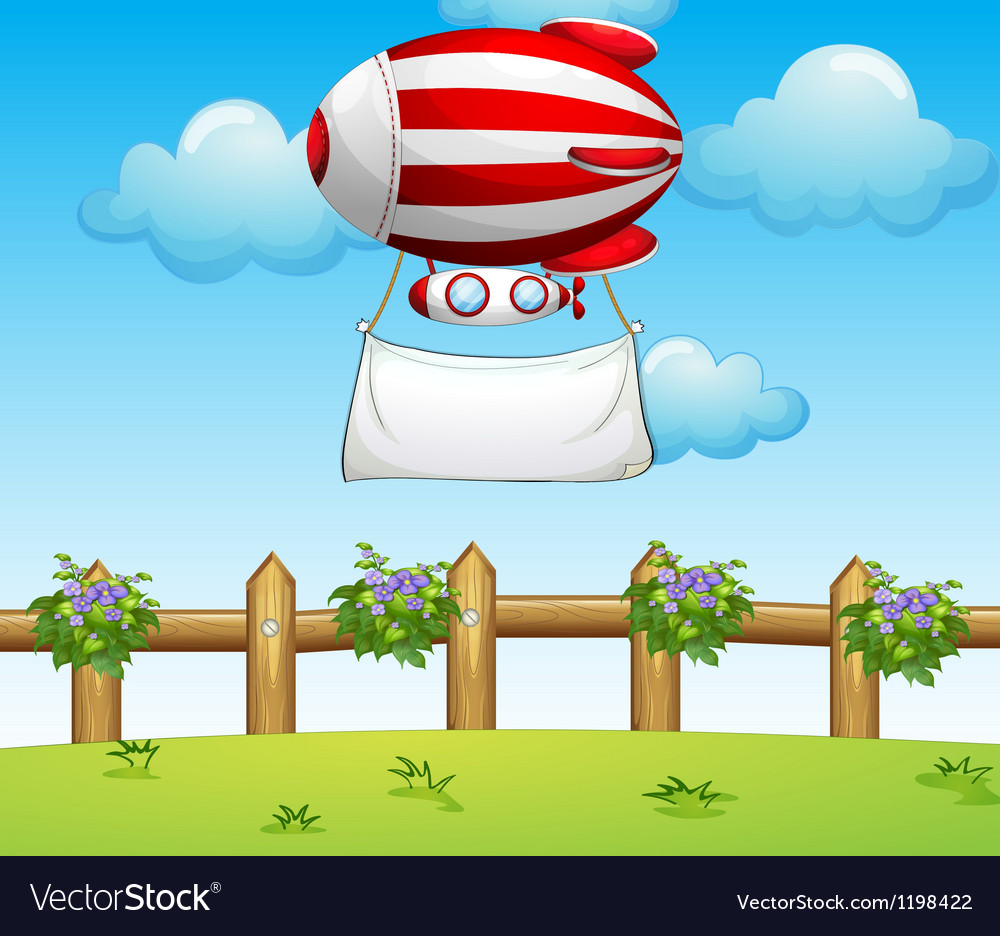 A stripe blimp carrying an empty banner vector | Price: 1 Credit (USD $1)