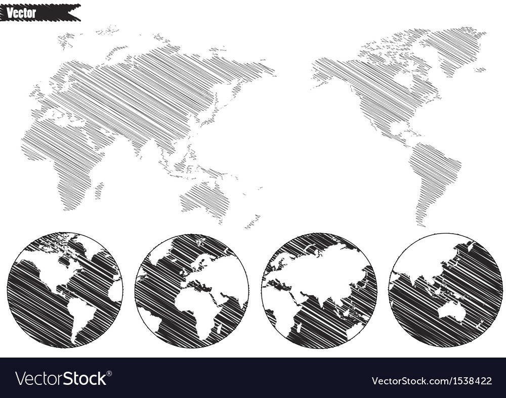 Black world map and compass vector | Price: 1 Credit (USD $1)