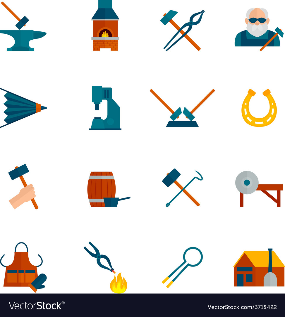 Blacksmith icon flat vector | Price: 1 Credit (USD $1)