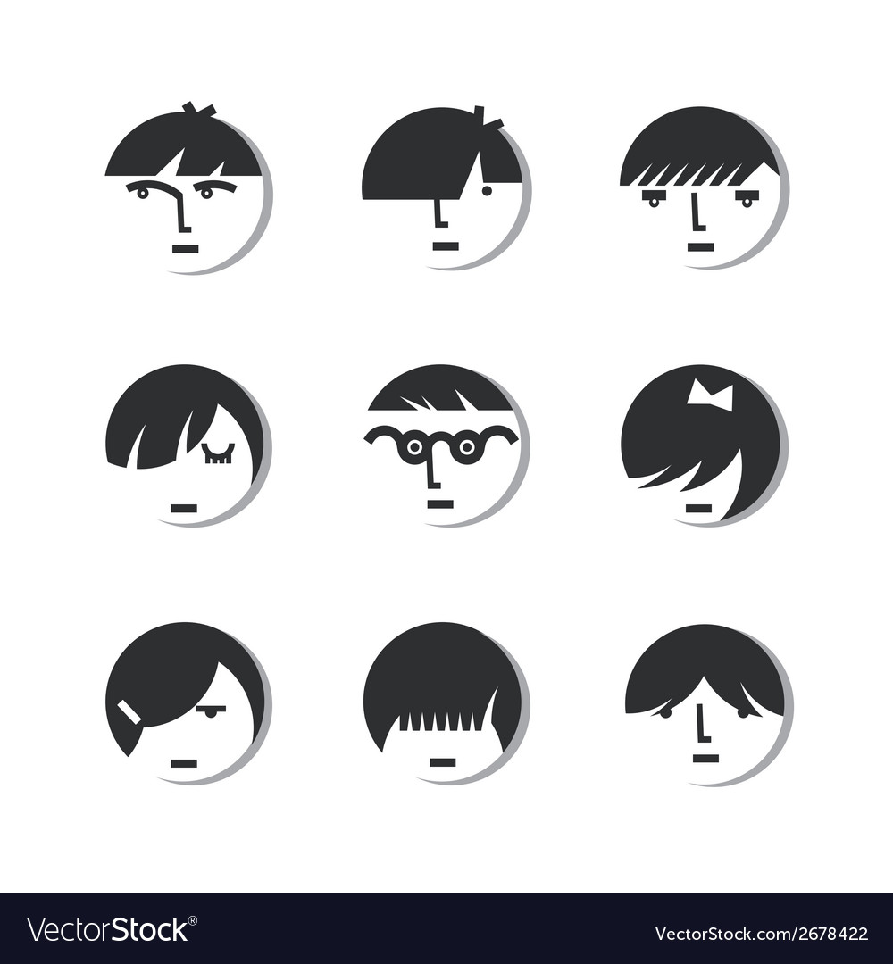 Boys and girls head icons vector | Price: 1 Credit (USD $1)