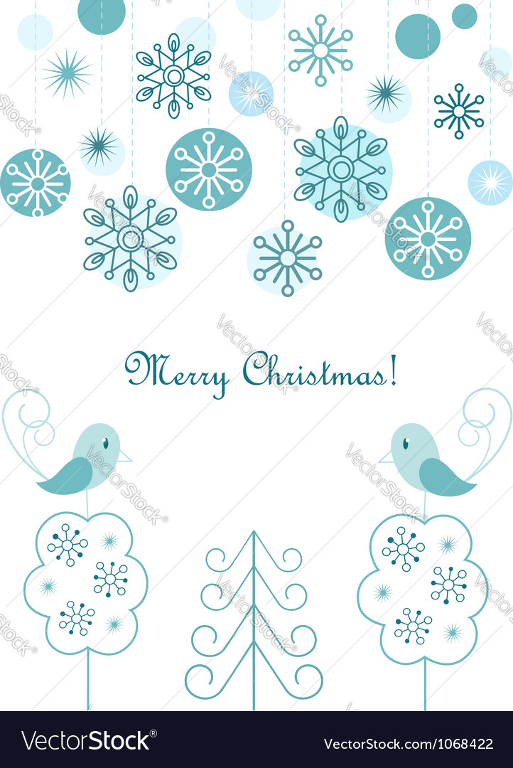 Christmas balls and snowflakes background vector | Price:  Credit (USD $)
