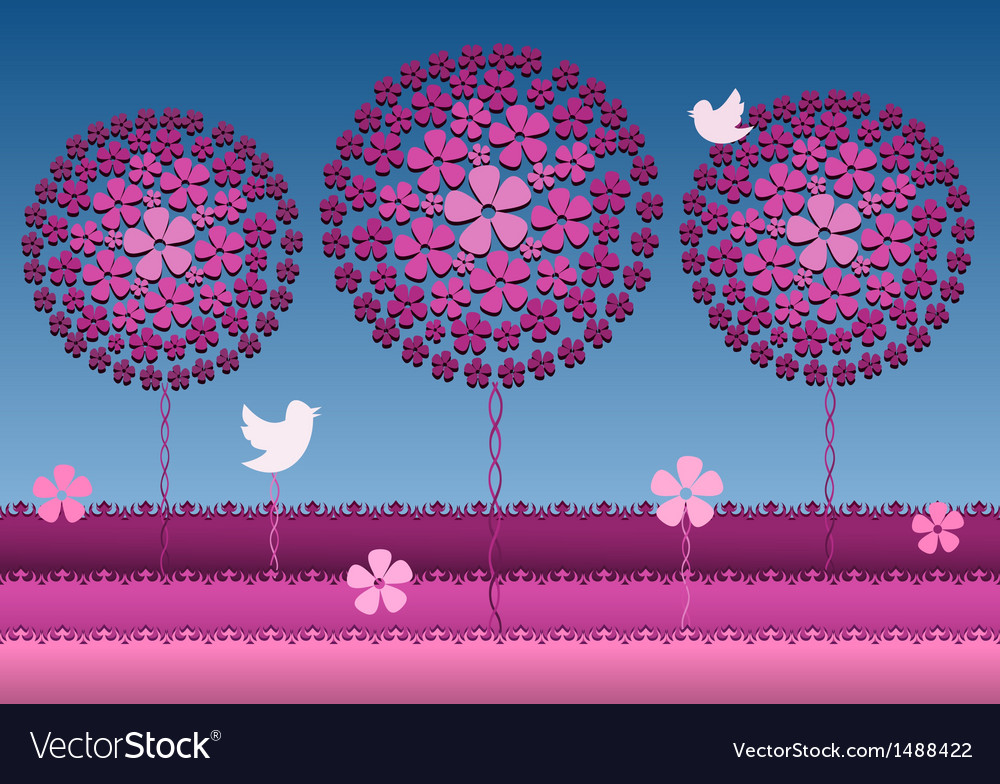 Floral trees blossom in pink garden vector | Price: 1 Credit (USD $1)