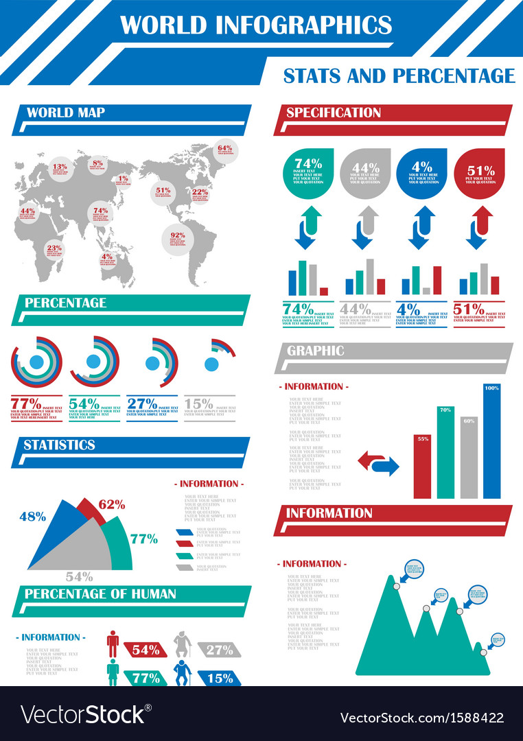 Infographic demographics 9 blue vector | Price: 1 Credit (USD $1)
