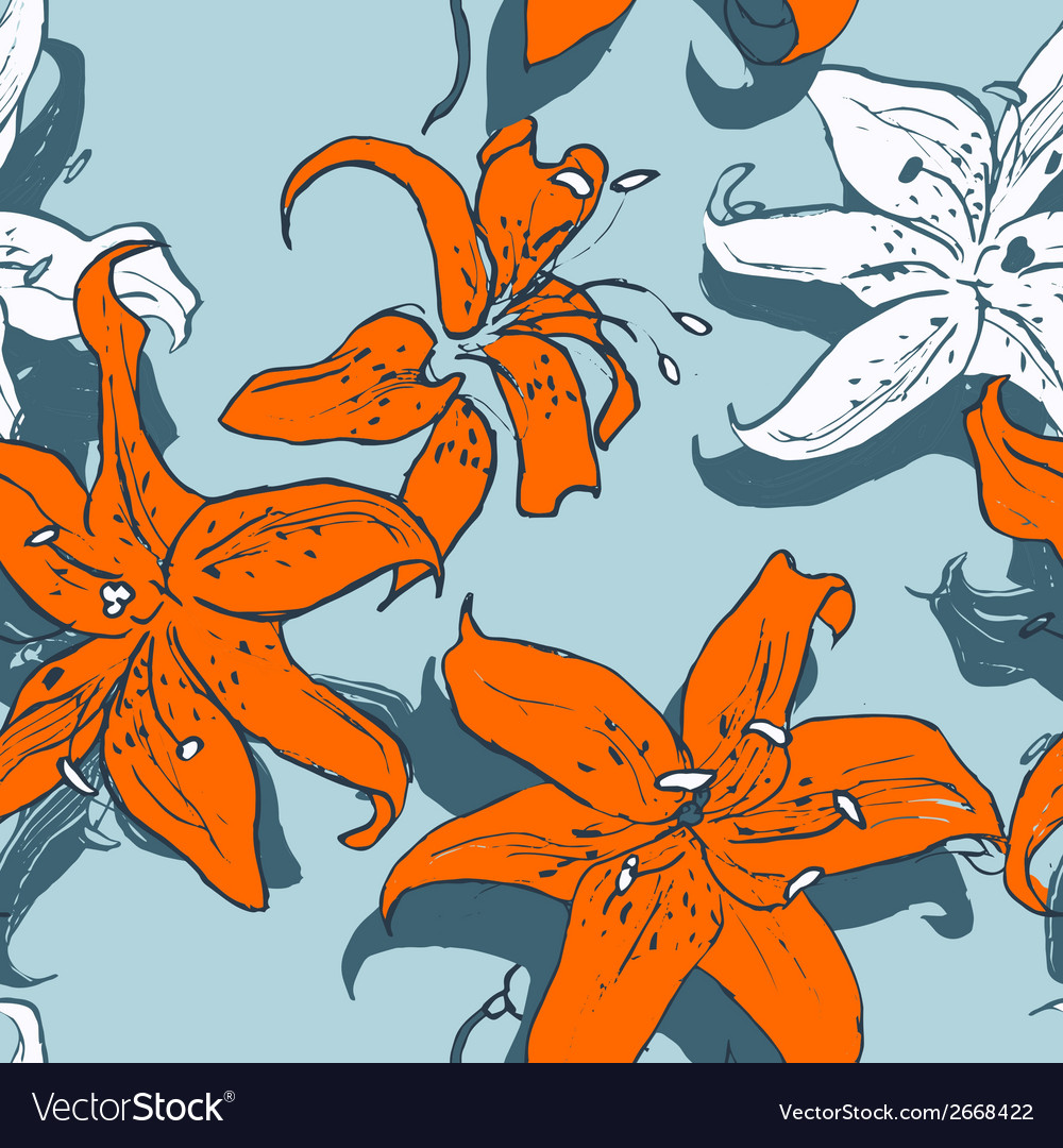 Lilies on blue vector | Price: 1 Credit (USD $1)