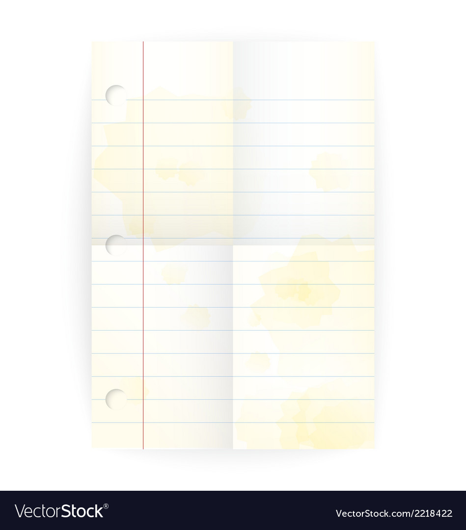 Old notepad ruled blank page with folds vector | Price: 1 Credit (USD $1)