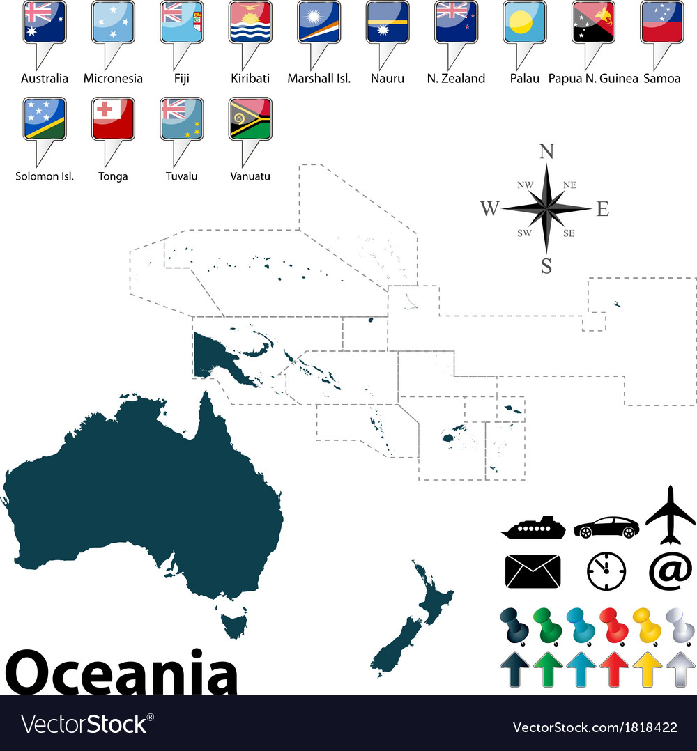 Political map of oceania vector | Price: 1 Credit (USD $1)