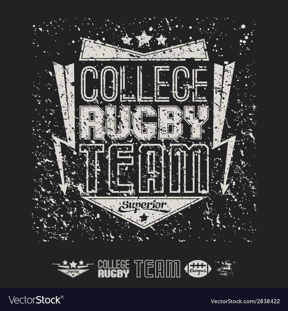 Rugby emblem bright print and design elements vector | Price: 1 Credit (USD $1)