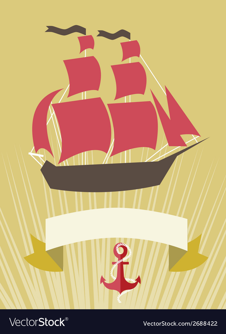 Sea banner with sailboat in cartoon style vector | Price: 1 Credit (USD $1)