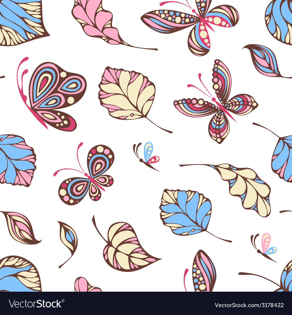 Seamless pattern of butterflies and leaves vector | Price: 1 Credit (USD $1)