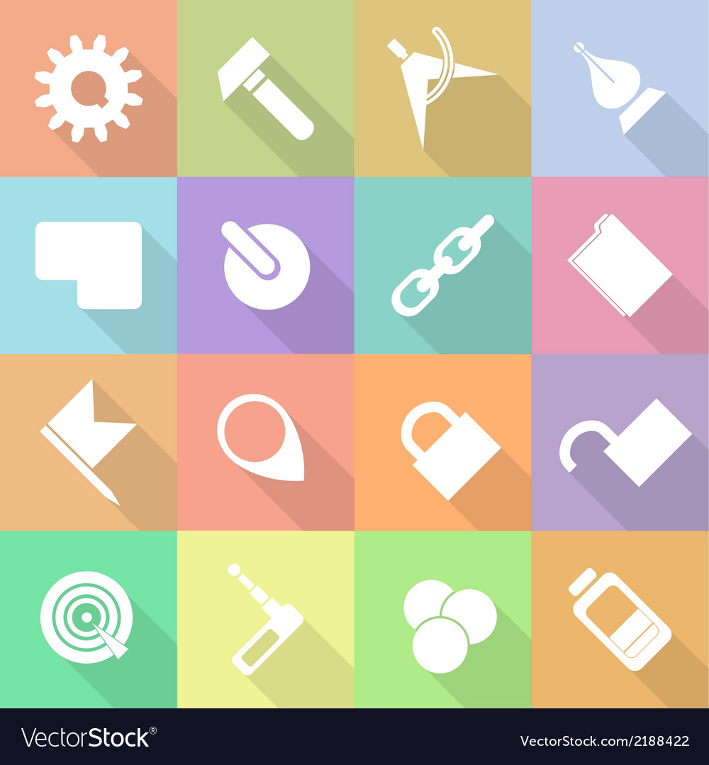 Set flat technology icons with shadow vector | Price: 1 Credit (USD $1)