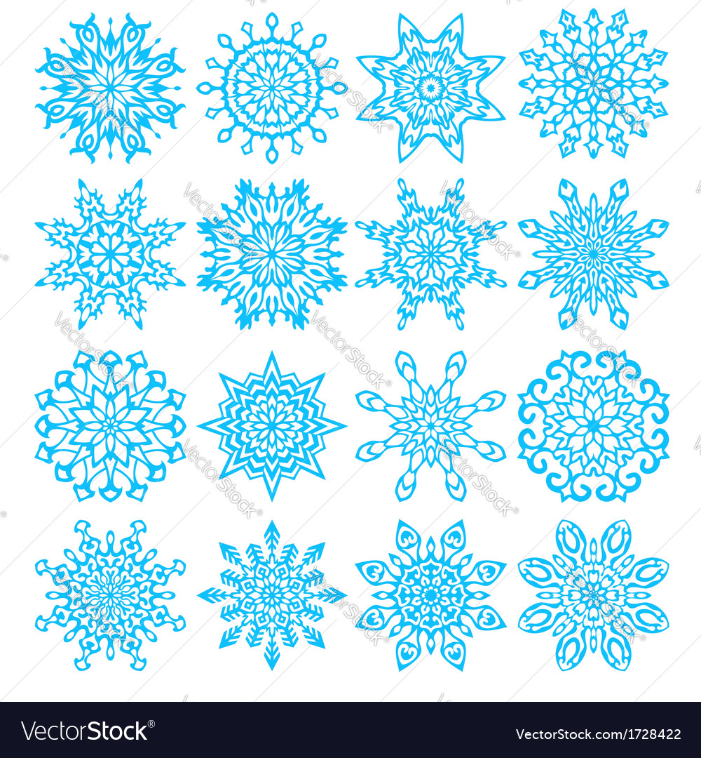 Set of sixteen snowflakes vector | Price: 1 Credit (USD $1)