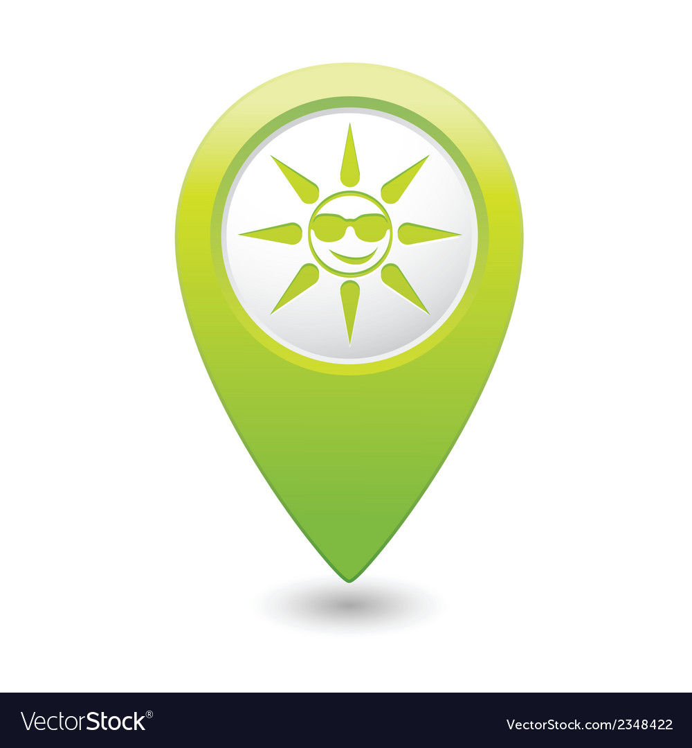 Sun symbol green map pointer vector | Price: 1 Credit (USD $1)