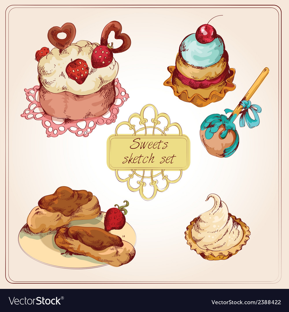 Sweets colored set vector | Price: 1 Credit (USD $1)