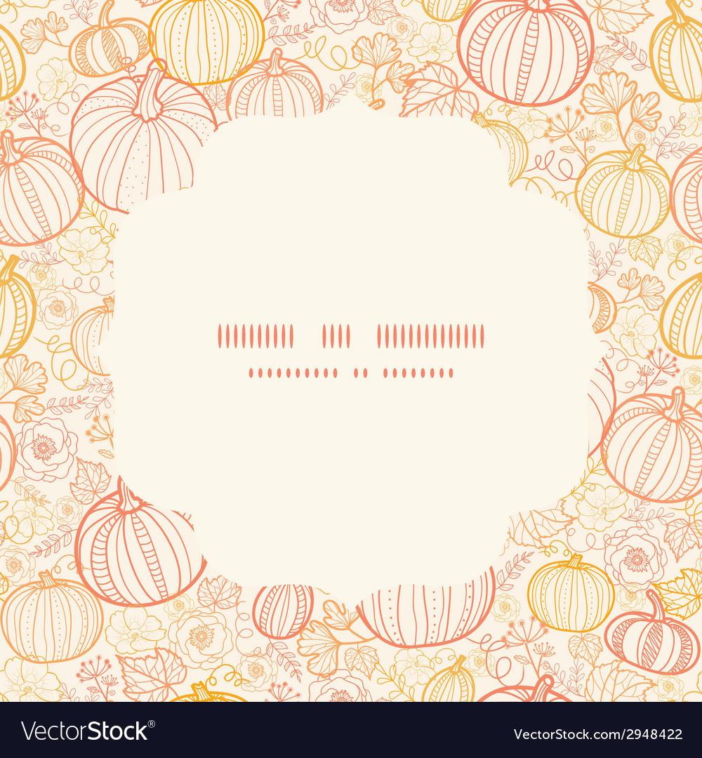 Thanksgiving line art pumkins circle frame vector | Price: 1 Credit (USD $1)