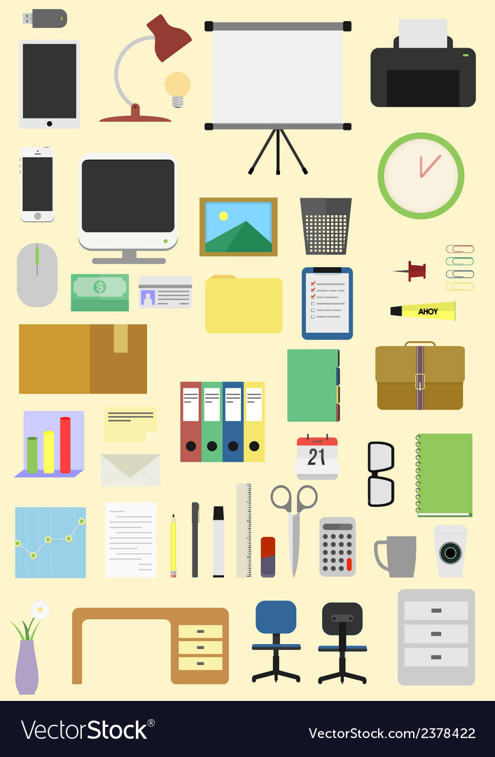 Things in office pack vector | Price: 1 Credit (USD $1)