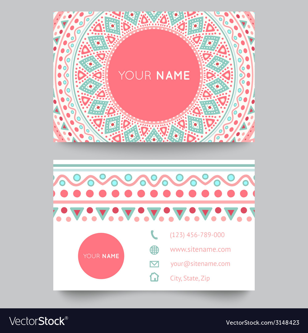 Business card template blue white and pink beauty vector | Price: 1 Credit (USD $1)