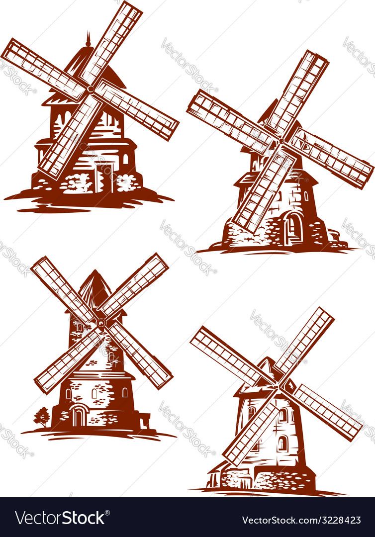 Hand-drawn windmills in vintage style vector | Price: 1 Credit (USD $1)