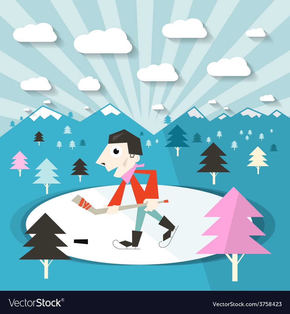 Hockey player on ice and nature with trees and vector | Price: 1 Credit (USD $1)