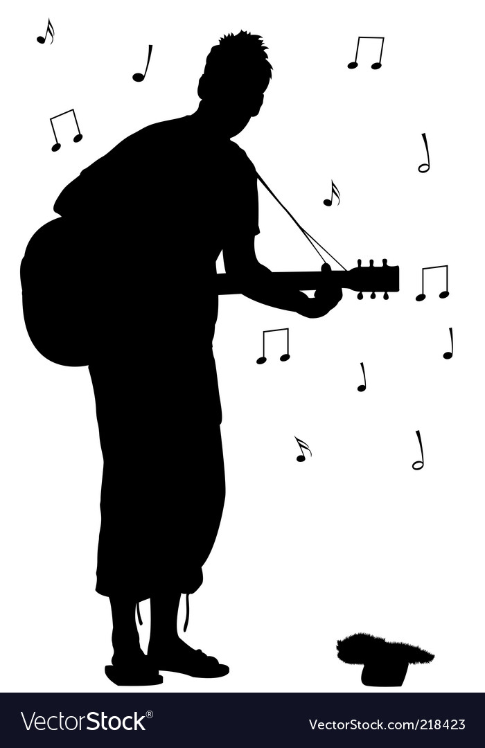 Man with guitar silhouette vector | Price: 1 Credit (USD $1)