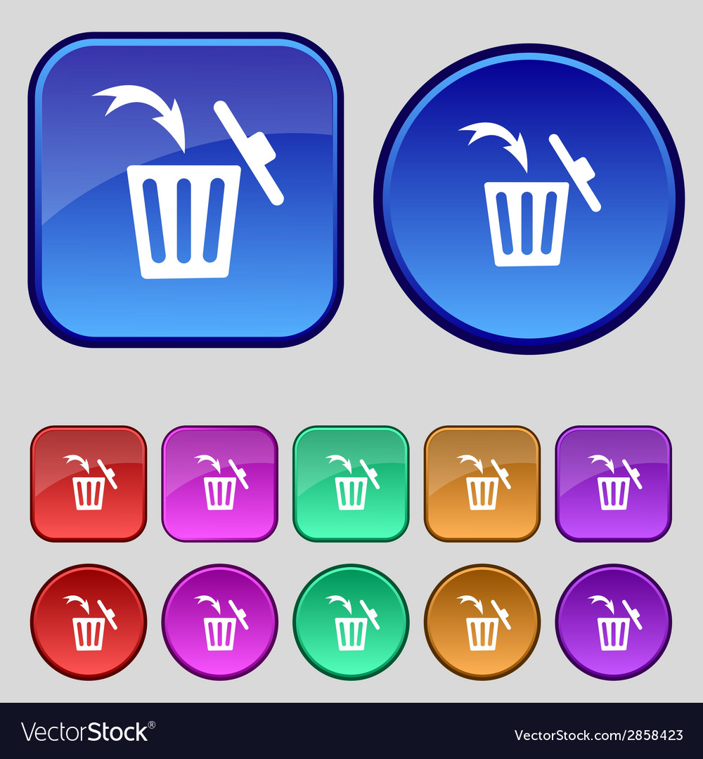 Recycle bin sign icon bins symbol set colourful vector | Price: 1 Credit (USD $1)