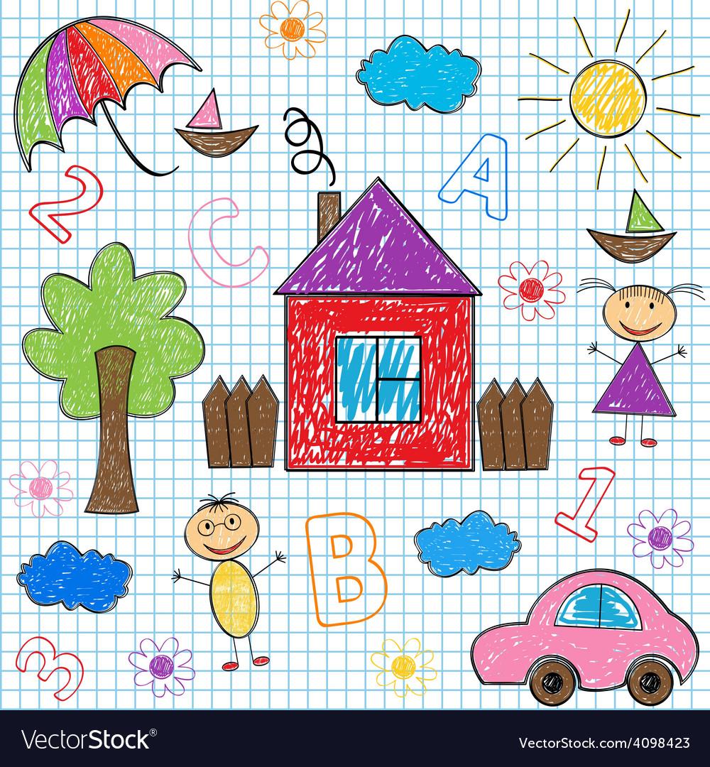 Seamless pattern kids drawings vector   Price: 1 Credit (USD $1)