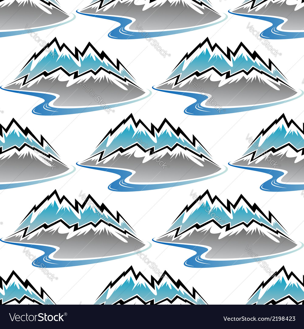 Seamless pattern of winter mountains and streams vector | Price: 1 Credit (USD $1)