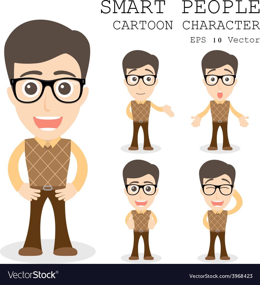 Smart people cartoon character eps 10 vector | Price: 1 Credit (USD $1)