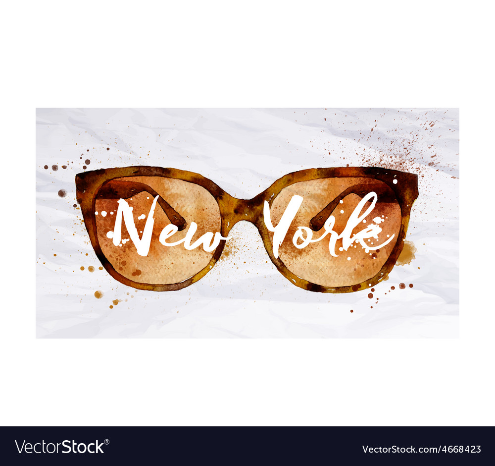 Watercolor glasses new york vector | Price: 1 Credit (USD $1)