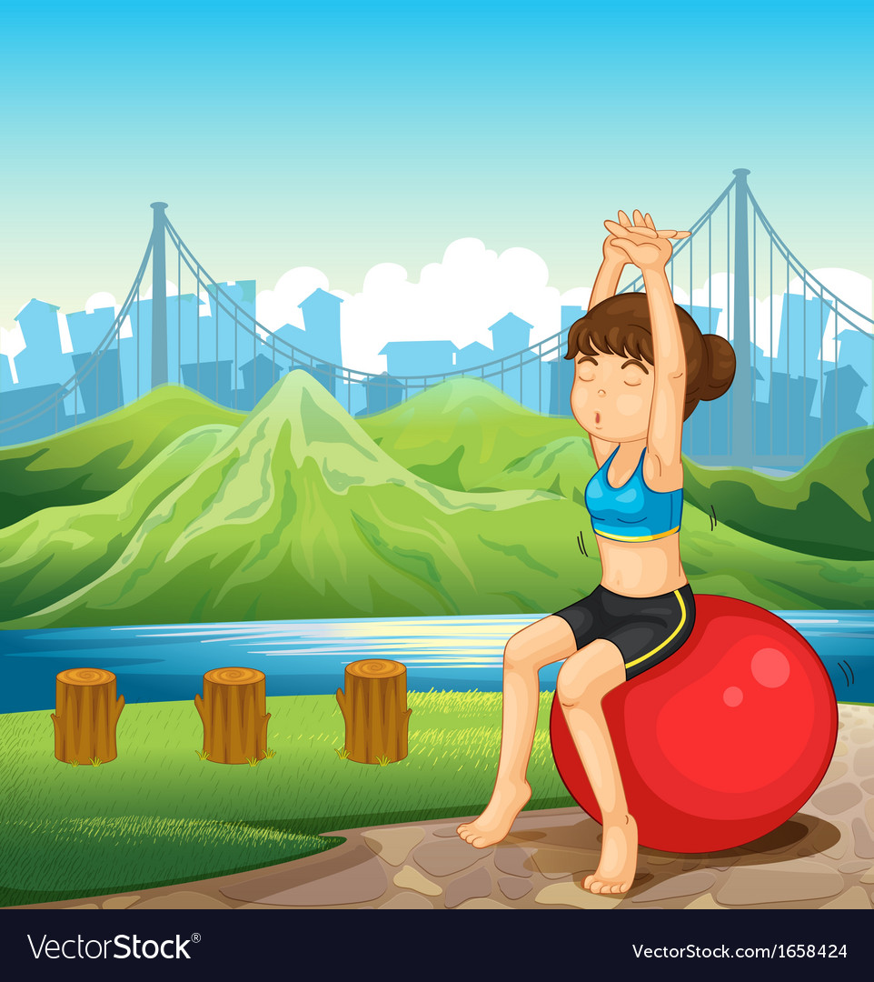 A girl exercising near the river across the vector | Price: 3 Credit (USD $3)