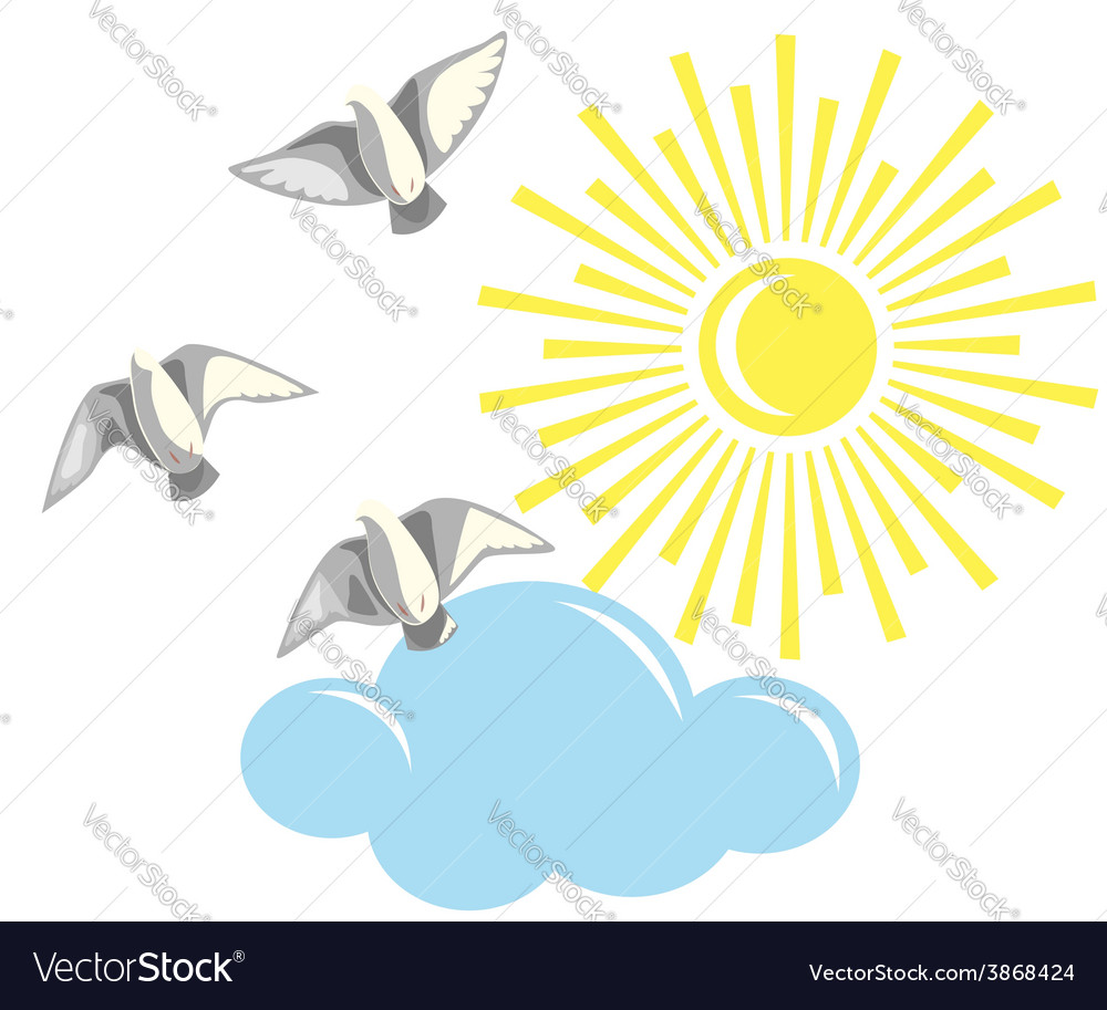 Birds and sun vector | Price: 1 Credit (USD $1)