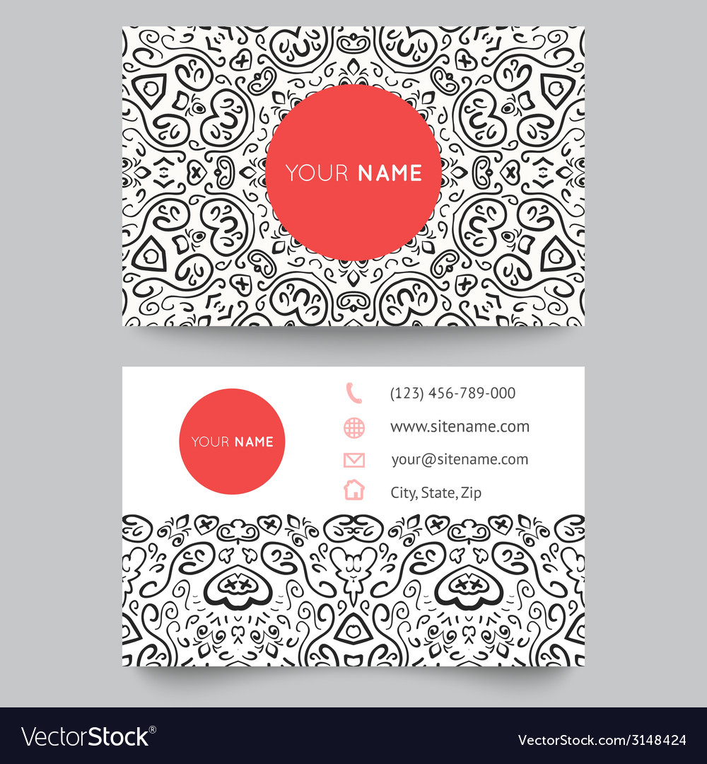 Business card template black red and white beauty vector | Price: 1 Credit (USD $1)