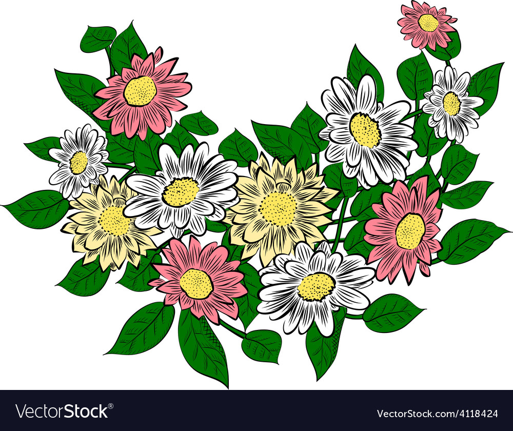 Flowers isolated on white vector | Price: 1 Credit (USD $1)