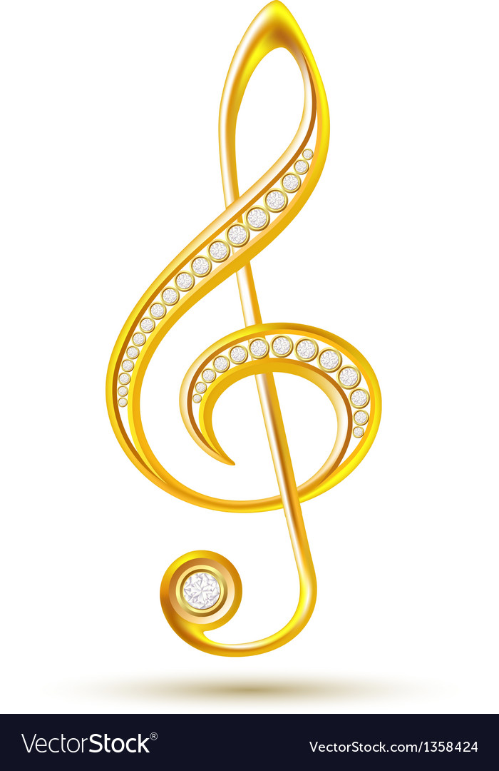 Golden treble clef with diamonds vector | Price: 1 Credit (USD $1)