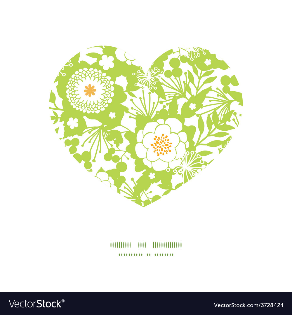 Green and golden garden silhouettes heart vector | Price: 1 Credit (USD $1)