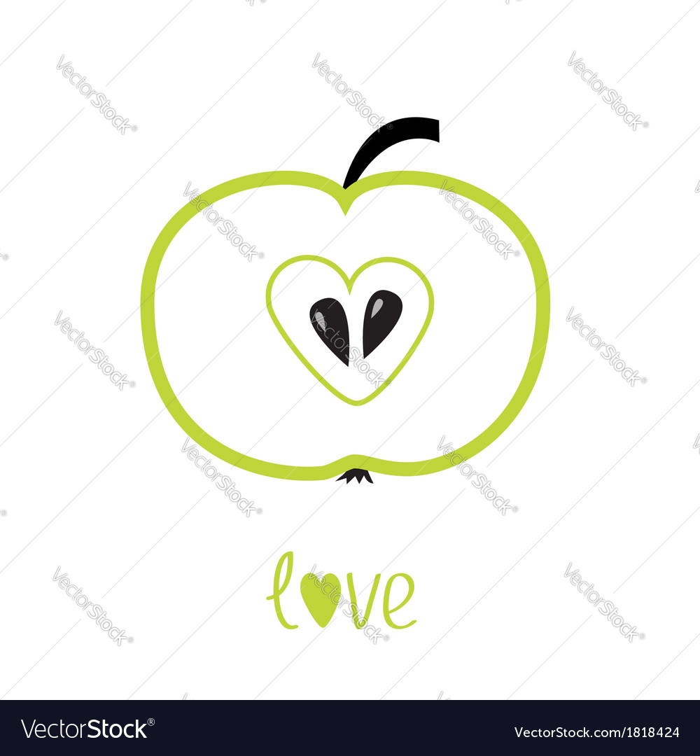Green apple with heart shape love card vector | Price: 1 Credit (USD $1)