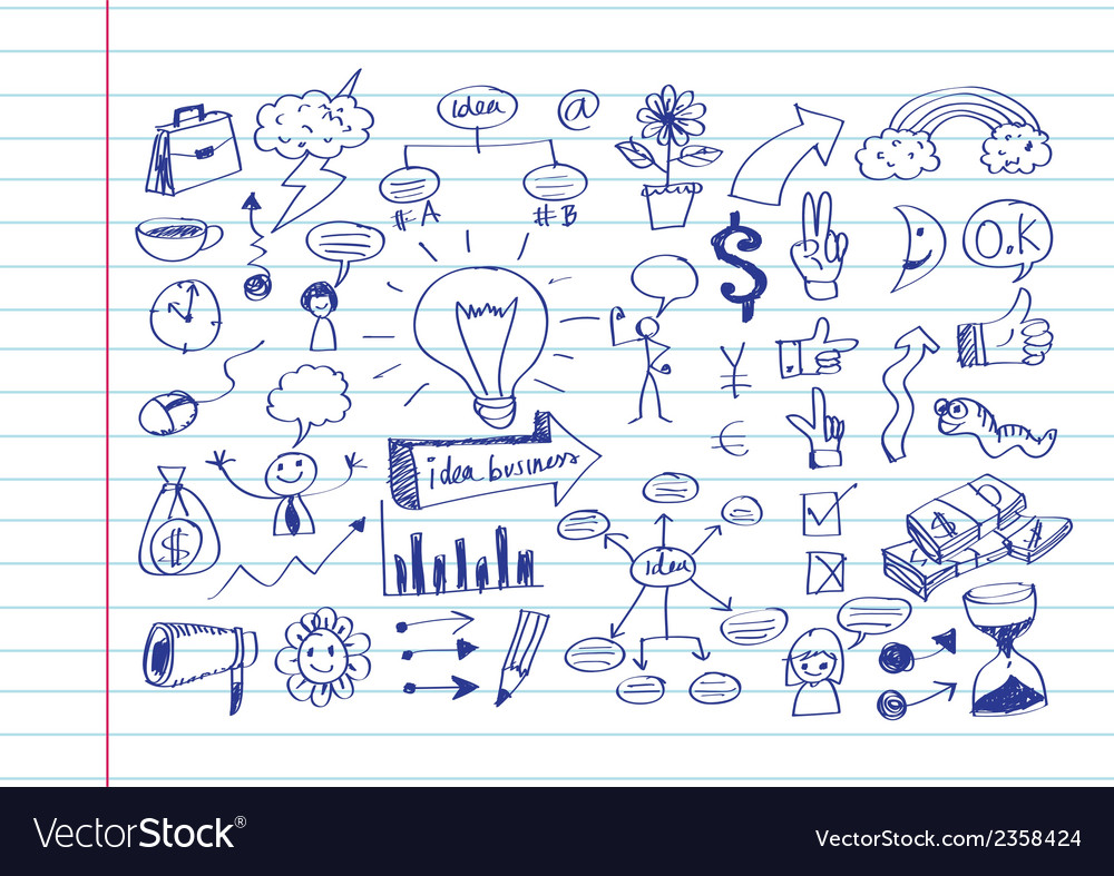 Hand doodle business icon set idea design vector | Price: 1 Credit (USD $1)