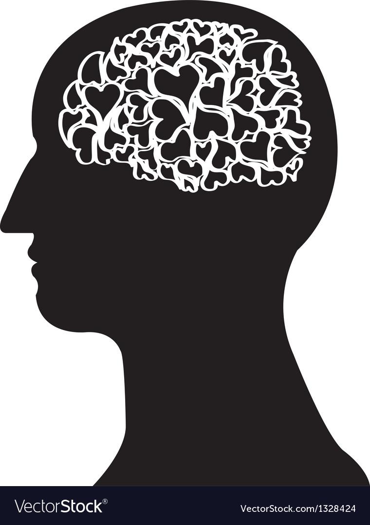 Heart brain in black colour vector | Price: 1 Credit (USD $1)