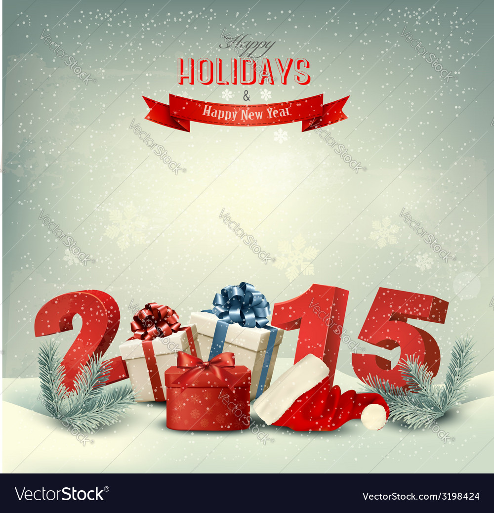 Holiday background with presents and a 2015 vector | Price: 3 Credit (USD $3)