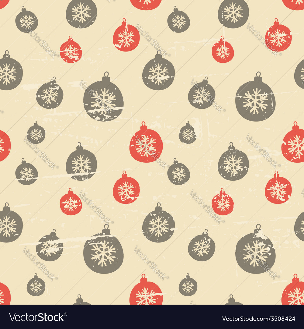 Retro style seamless christmas baubles pattern vector   Price: 1 Credit (USD $1)