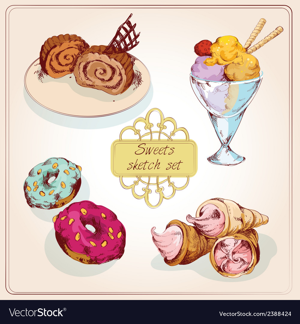 Sweets sketch colored set vector | Price: 1 Credit (USD $1)